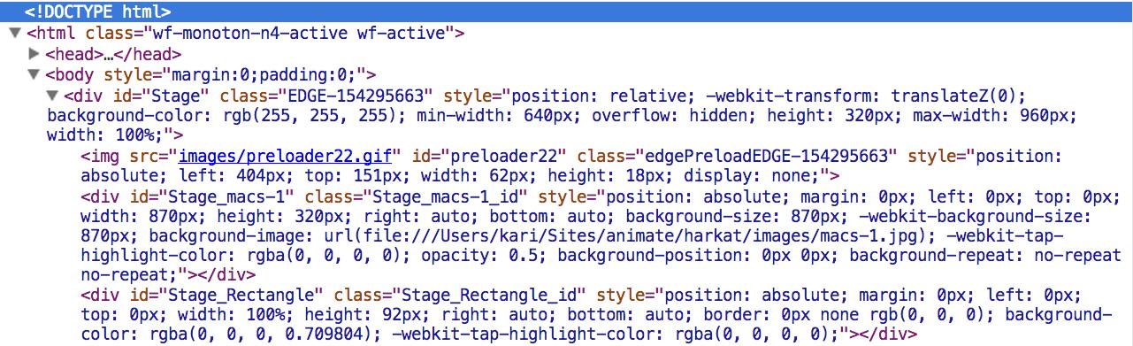 Flashin generoima HTML koodi