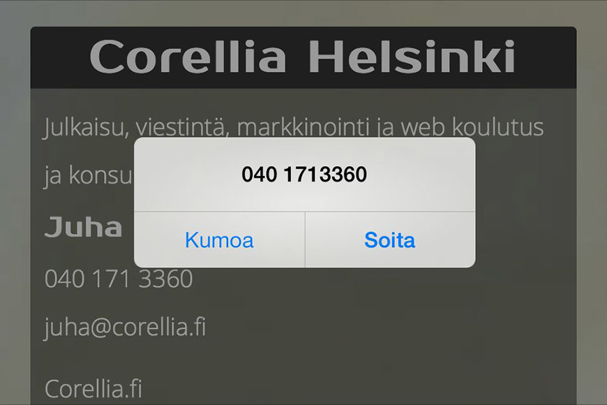 Puhelinnumero linkkinä verkkosivulla