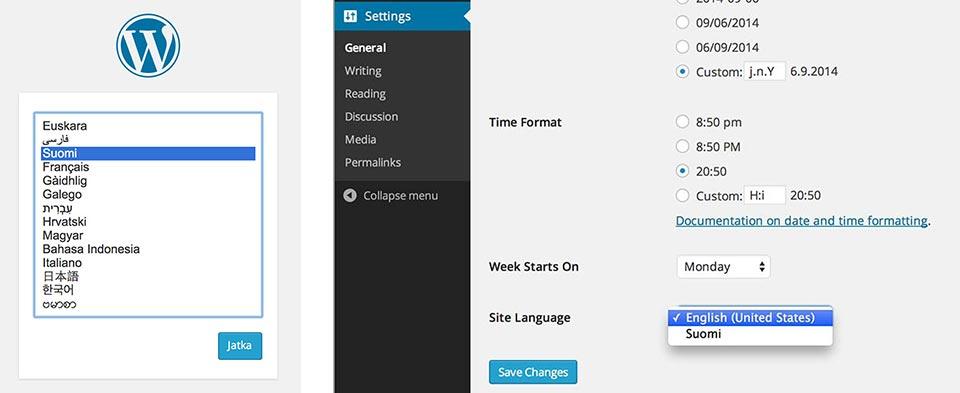 WordPress 4 kielen valinta