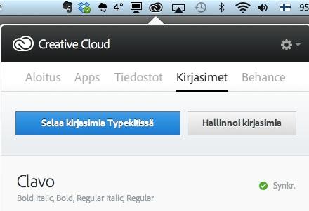 Typekit CC applikaatiossa