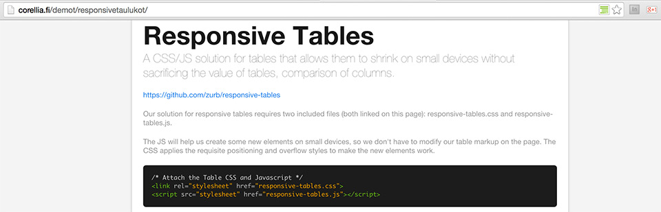 ZURB responsive tables