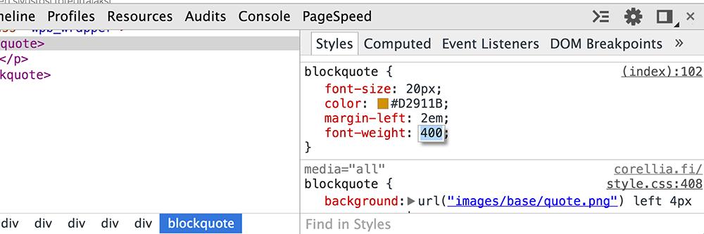 CSS tyylit selaintyökalussa