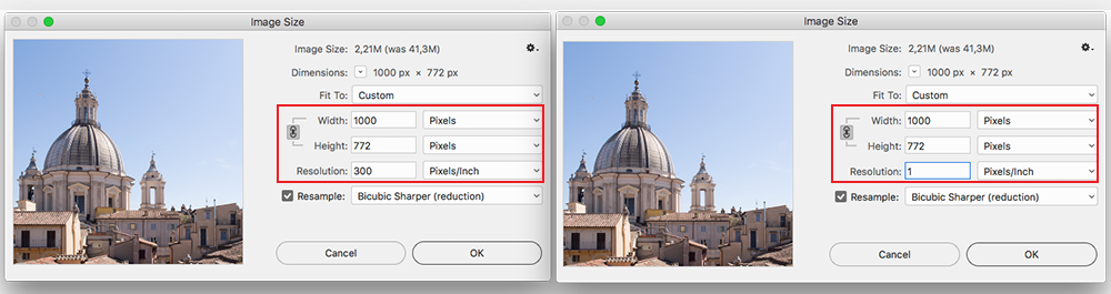 Photoshop image size and resolution