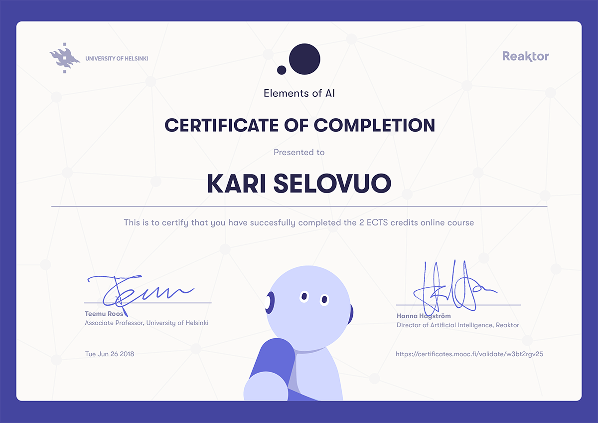 Elements Of AI Certificate For Kari Selovuo